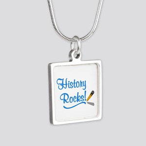 History Rocks Silver Square Necklace