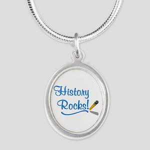 History Rocks Silver Oval Necklace