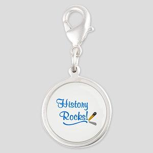 History Rocks Silver Round Charm