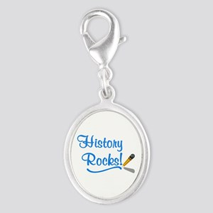 History Rocks Silver Oval Charm