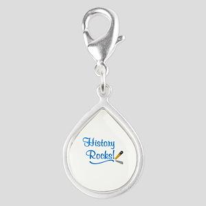 History Rocks Silver Teardrop Charm