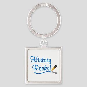 History Rocks Square Keychain