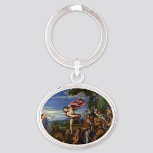 Bacchus and Ariadne Oval Keychain