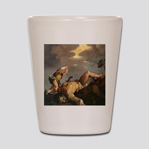 David and Goliath Shot Glass
