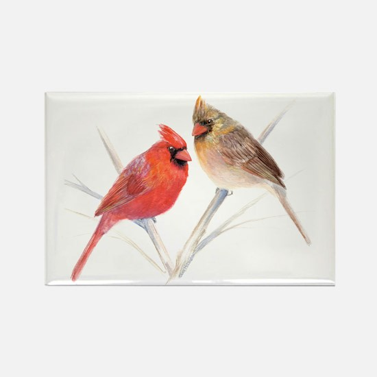 Northern Cardinal male & fema Rectangle Magnet (10