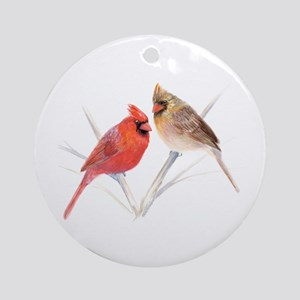 Northern Cardinal male & fema Ornament (Round)