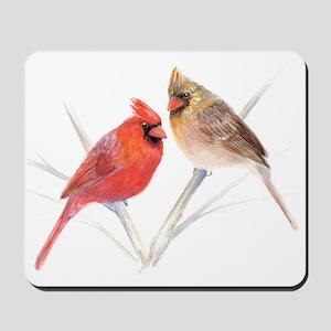 Northern Cardinal male & fema Mousepad
