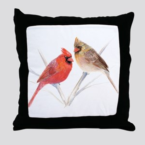 Northern Cardinal male & fema Throw Pillow