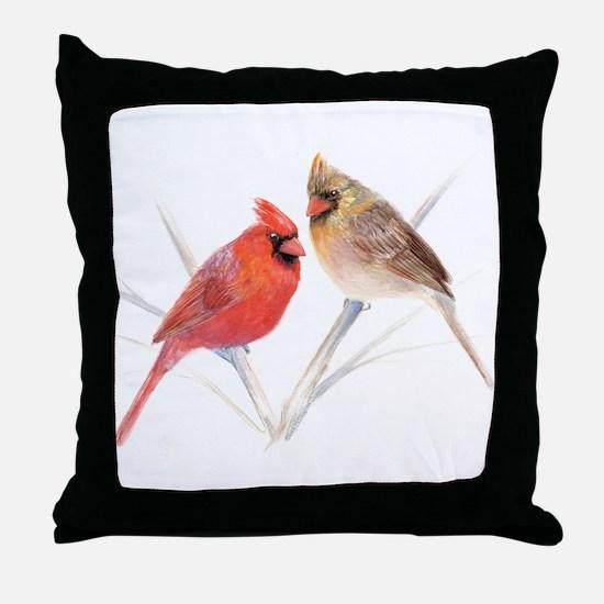 Northern Cardinal male & fema Throw Pillow