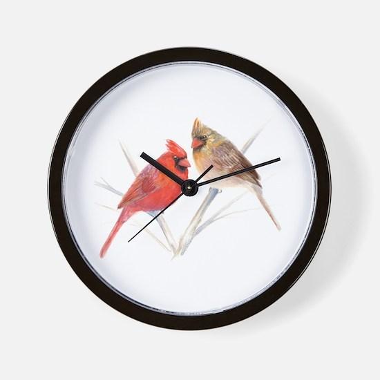 Northern Cardinal male & fema Wall Clock