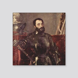 "Portrait of Duke of Urbino Square Sticker 3"" x 3"""