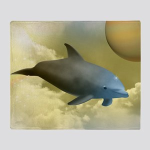 Space Dolphin Throw Blanket