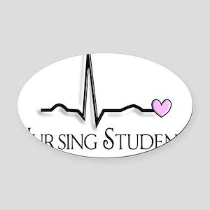 Nursing Student QRS pink Oval Car Magnet