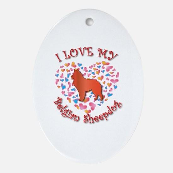 Love Sheepdog Oval Ornament