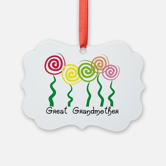 Great Grandmother ARtsy Flowers Ornament