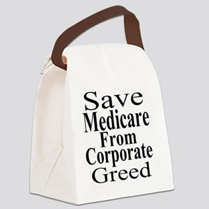 Save Medicare from Greed-wt bk Canvas Lunch Bag