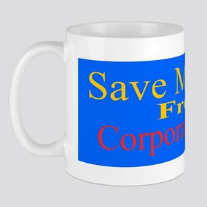 Save Medicare from Greed-bl y red stick Mug