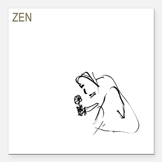 "zen_buddha_white_painted Square Car Magnet 3"" x 3"""