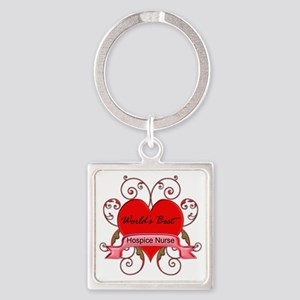 Worlds Best Hospice Nurse with hea Square Keychain
