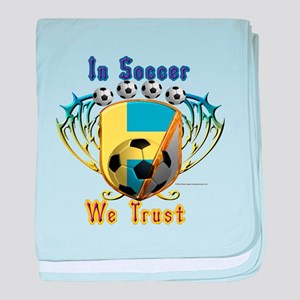 In Soccer We Trust baby blanket
