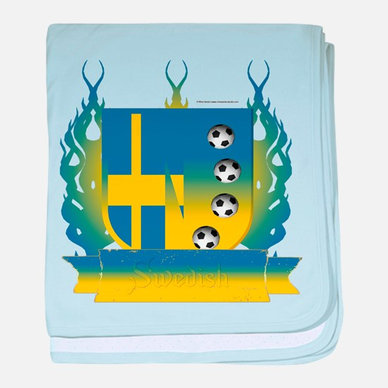 Sweden Soccer Shield3 baby blanket