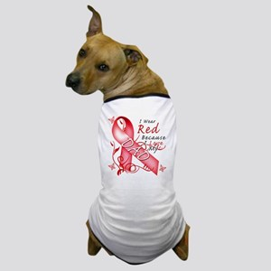 I Wear Red Because I Love My Dad Dog T-Shirt