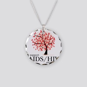 AIDSHIV-Tree Necklace Circle Charm