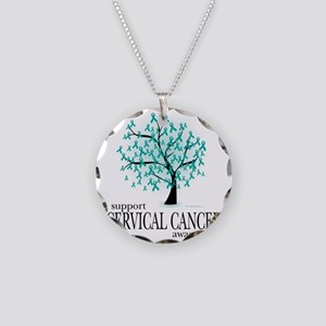 Cervical-Cancer-Tree Necklace Circle Charm