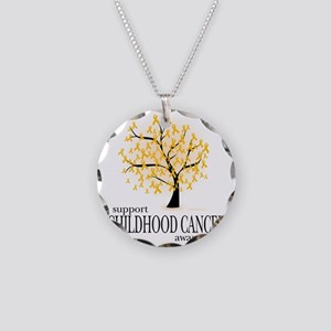 Childhood-Cancer-Tree Necklace Circle Charm