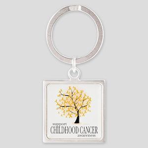Childhood-Cancer-Tree Square Keychain