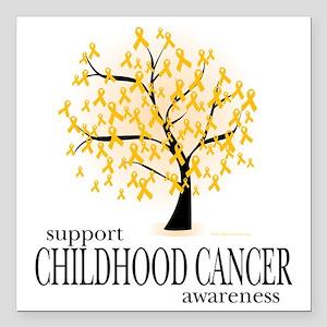 "Childhood-Cancer-Tree Square Car Magnet 3"" x 3"""