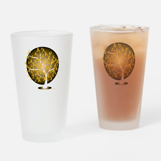 Childhood-Cancer-Tree-blk Drinking Glass