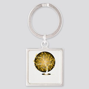 Childhood-Cancer-Tree-blk Square Keychain