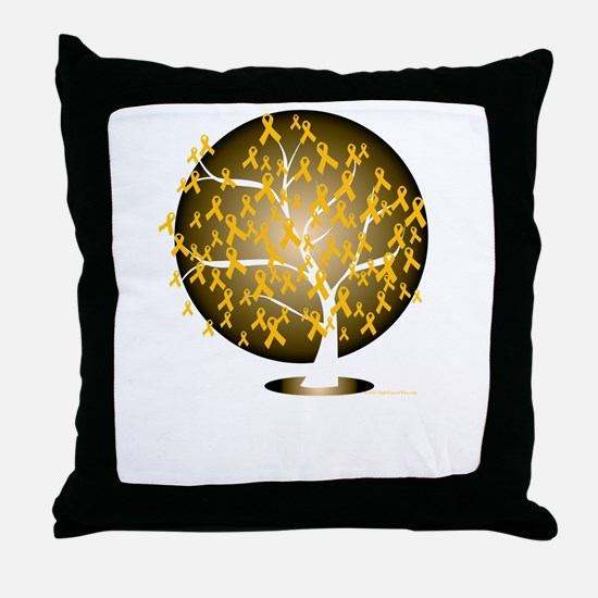 Childhood-Cancer-Tree-blk Throw Pillow