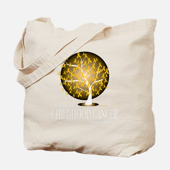 Childhood-Cancer-Tree-blk Tote Bag