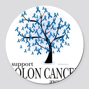 Colon-Cancer-Tree Round Car Magnet