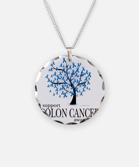 Colon-Cancer-Tree Necklace Circle Charm