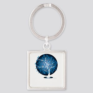 Colon-Cancer-Tree-blk Square Keychain