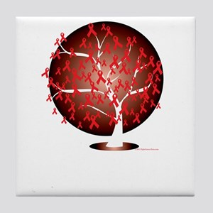 Heart-Disease-Tree-blk Tile Coaster