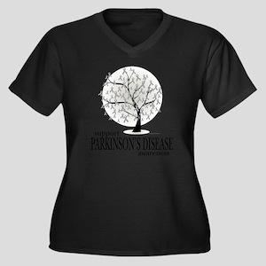 Parkinsons-D Women's Plus Size Dark V-Neck T-Shirt