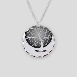 Parkinsons-Disease-Tree-blk Necklace Circle Charm