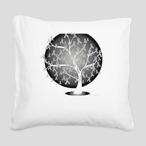 Parkinsons-Disease-Tree-blk Square Canvas Pillow