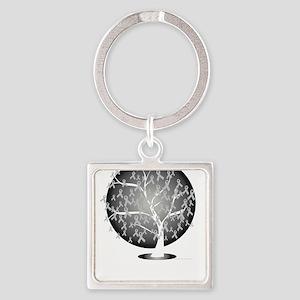 Parkinsons-Disease-Tree-blk Square Keychain