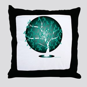 Ovarian-Cancer-Tree-blk Throw Pillow