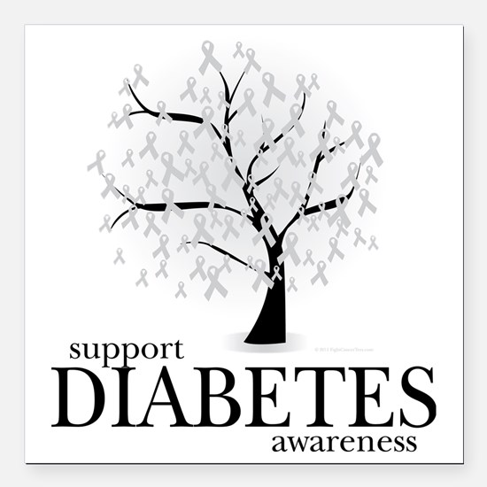 "Diabetes-Tree Square Car Magnet 3"" x 3"""