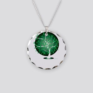 Organ-Donation-Tree-blk Necklace Circle Charm
