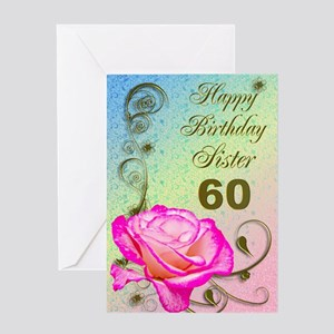 60th Birthday Card For Sister Elegant Rose Greeti