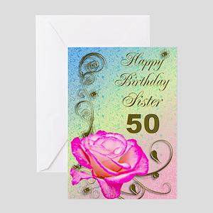 50th Birthday Card For Sister Elegant Rose Greeti