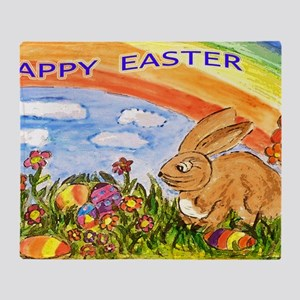 happy easter large poster Throw Blanket