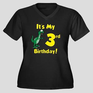 3rd Birthday Women's Plus Size Dark V-Neck T-Shirt